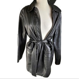 Cache Belted Supple Black Leather belt Trench Coat